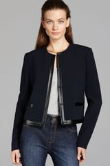 Adrianna Papell Faux Leather Trimmed Jacket - Lyst