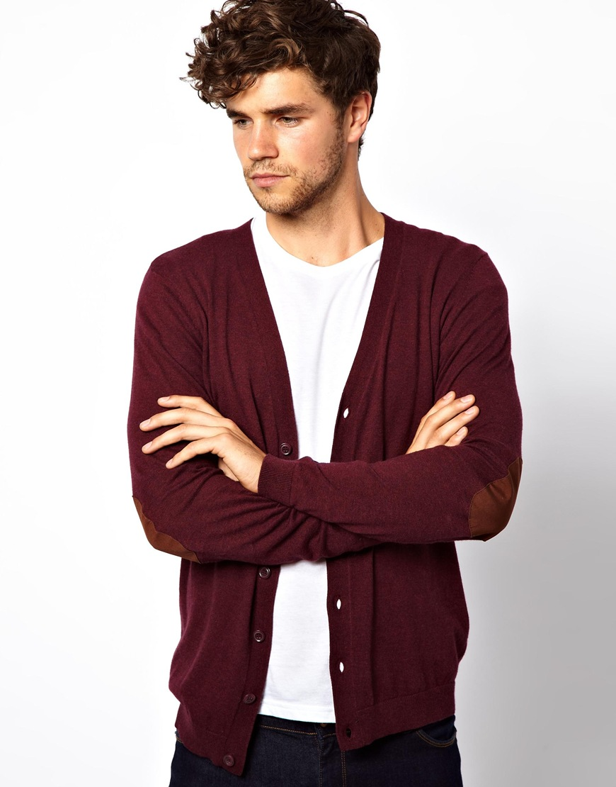 Asos Cardigan with Elbow Patches in Purple for Men | Lyst