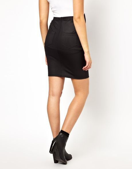asos maternity disco pencil skirt in black lyst