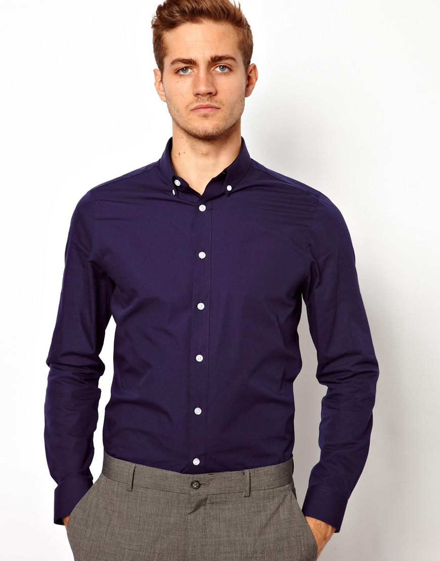 Asos Smart Shirt In Long Sleeve With Button Down Collar in Blue ...