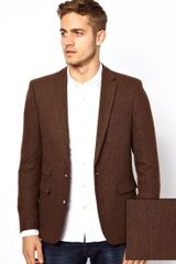 Asos Slim Fit Blazer in Herringbone - Lyst