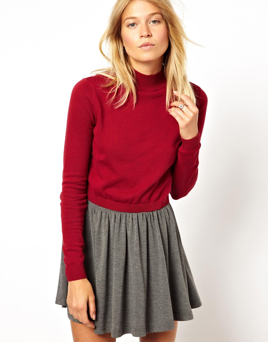 Asos Cropped Sweater with High Neck in Red | Lyst