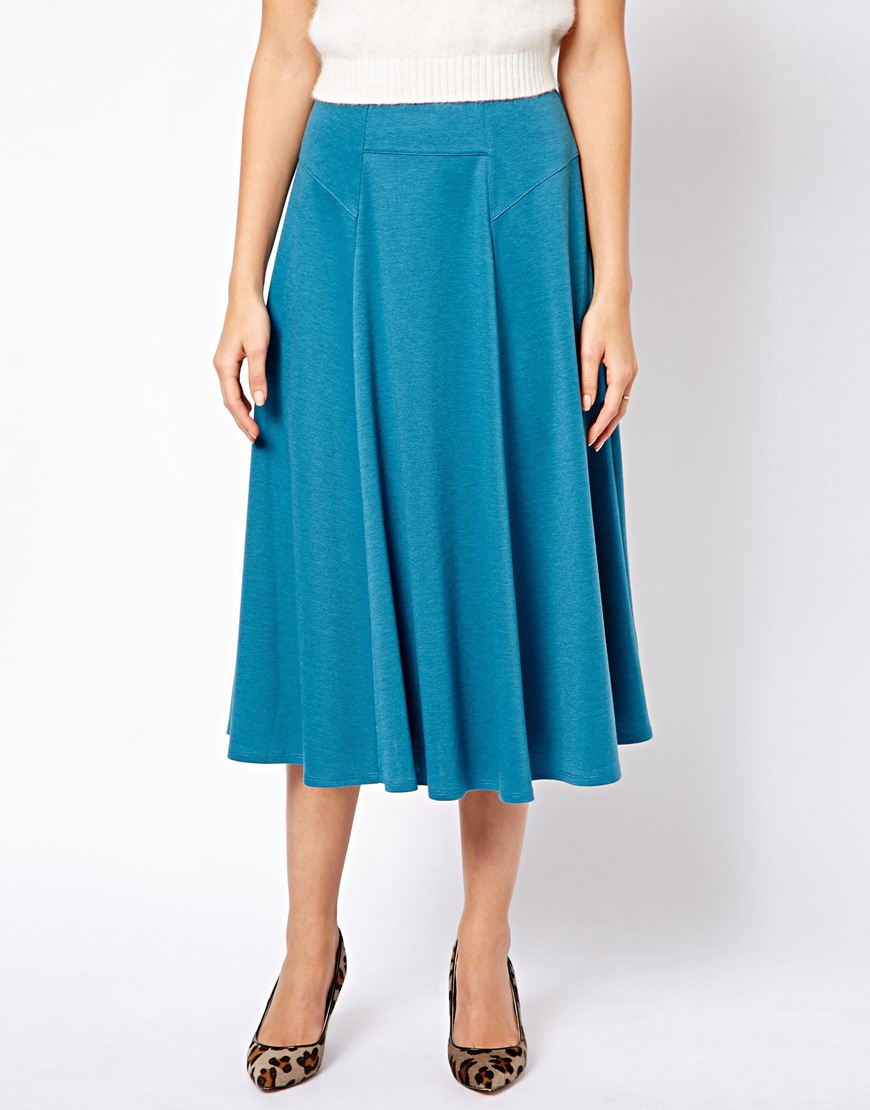 asos midi skirt with stitch waist detail in blue teal lyst
