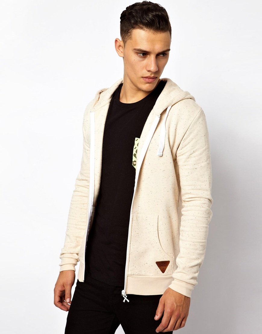 French connection Criminal Damage Zip Up Hoodie in Natural for Men ...