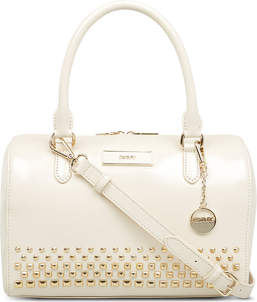 8844d865740c Dkny Saffiano Leather Bowling Bag in Natural - Lyst