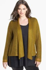 Eileen Fisher Mohair Blend Draped Cardigan - Lyst