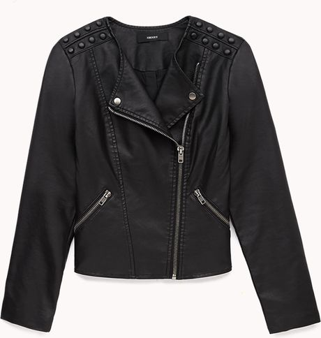 Forever 21 Favorite Faux Leather Moto Jacket in Black