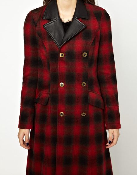 Free People Maxi Sergeant Coat In Shadow Plaid In Red
