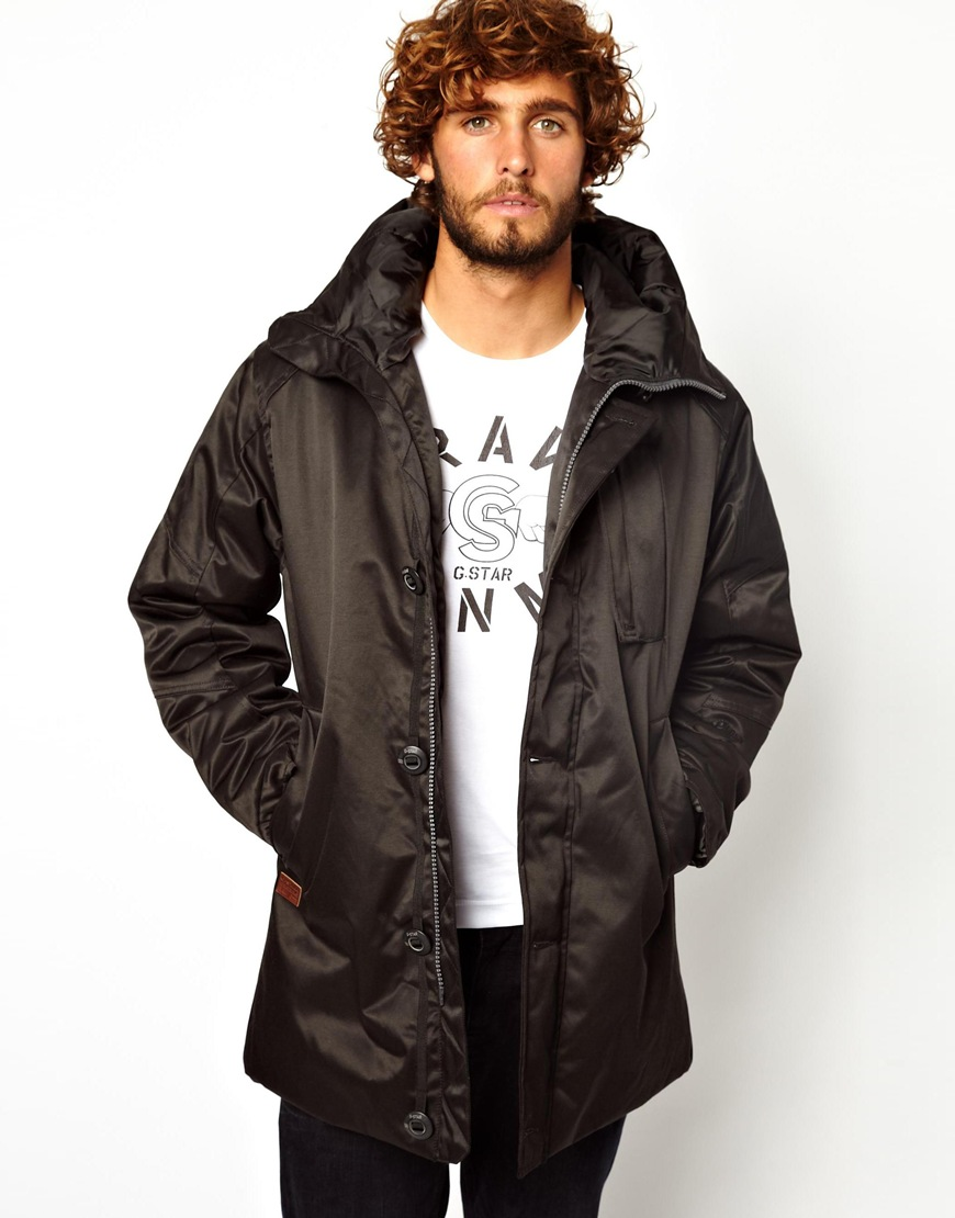G-star raw Hooded Parka Coat Mountain Nylon in Black for Men | Lyst