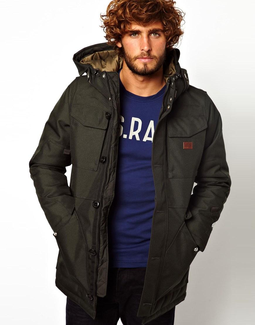 g star raw hooded parka coat in gray for men lyst. Black Bedroom Furniture Sets. Home Design Ideas