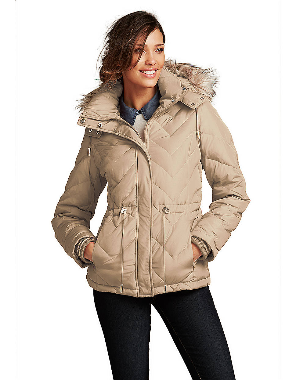 Kenneth Cole Hooded Puffer Jacket With Faux Fur Trim In