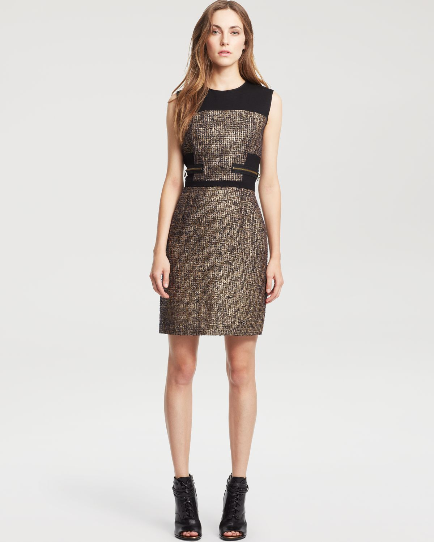 Kenneth cole Verida Gold Sheath Dress in Metallic | Lyst