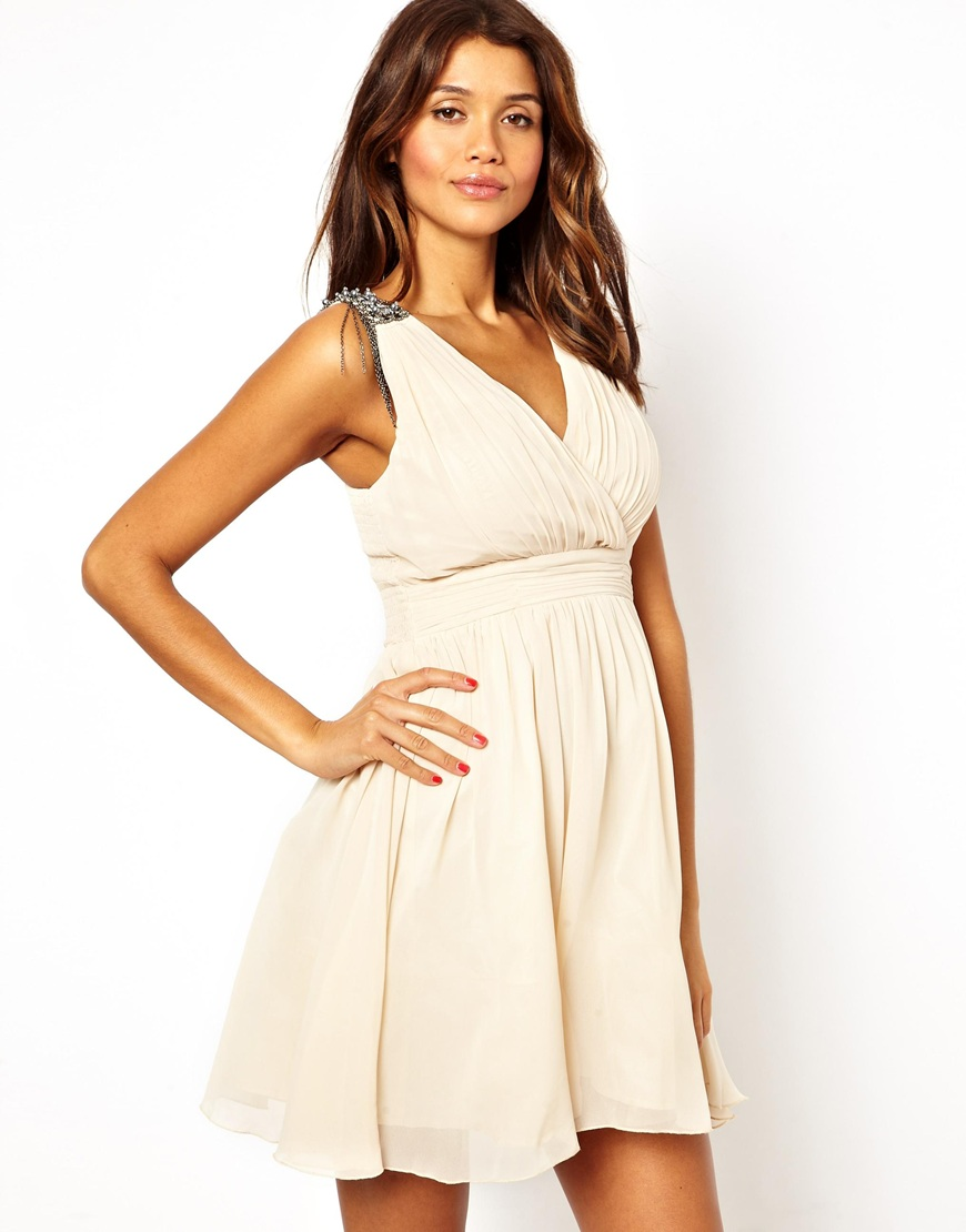 Little mistress Wrap Front Dress with Embellished Shoulder in ...