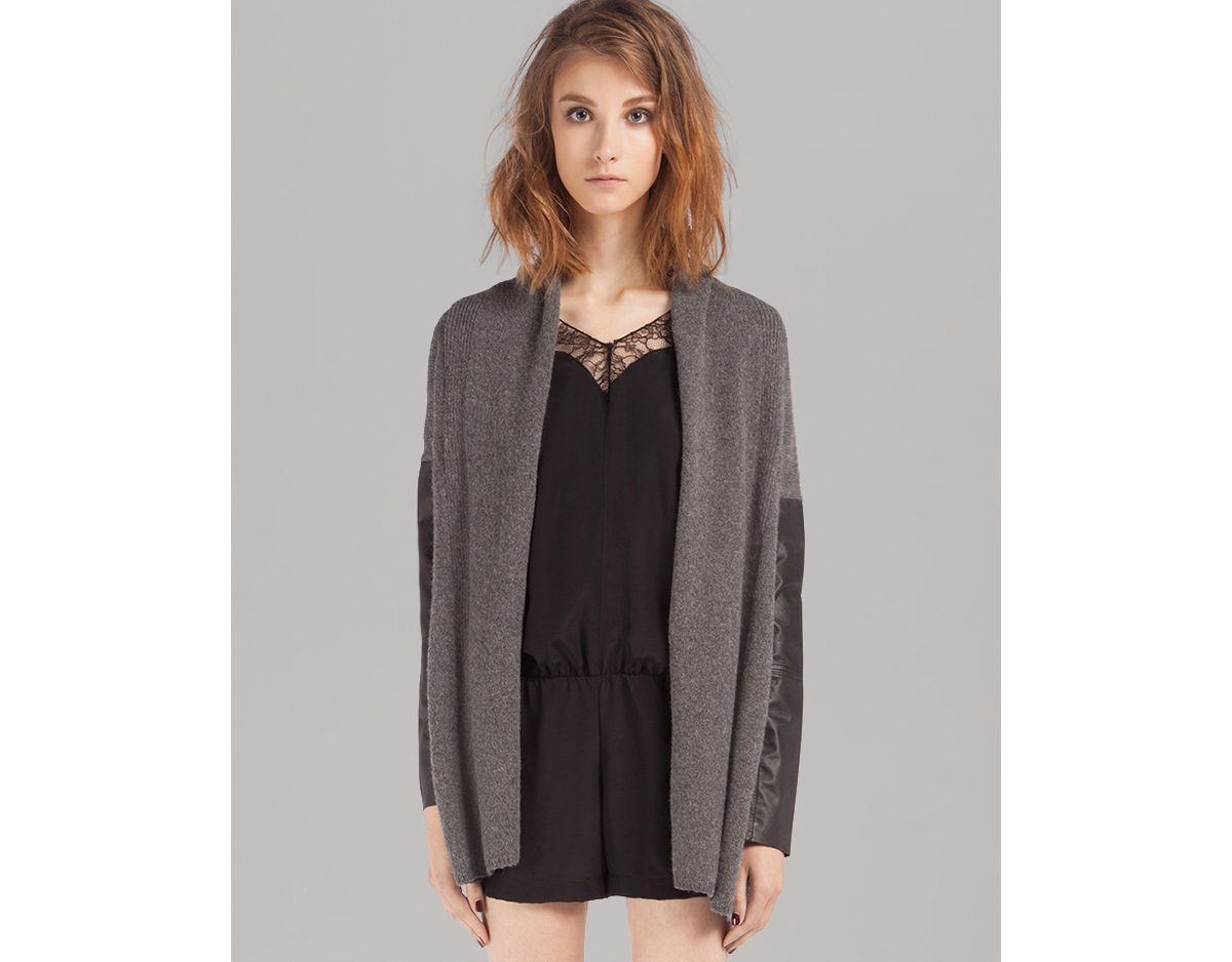 Lyst Maje Sweater Leather Sleeve Cardigan In Gray