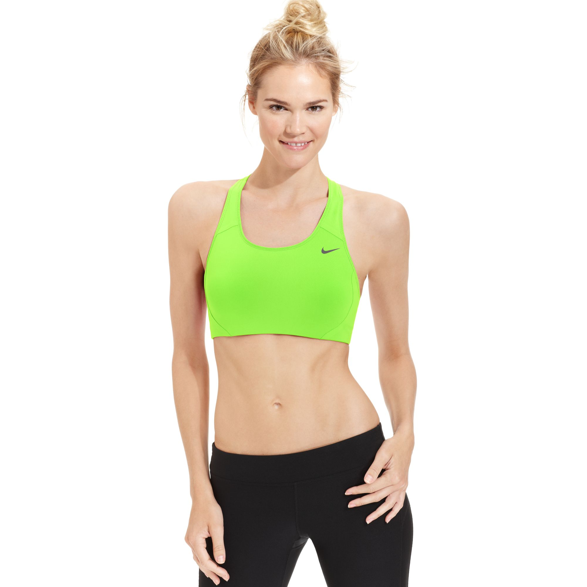 If you've been a loyal Nike fan since the days of cotton training bras, it's time to take a look at their Pro Hero sports bra. It's a great pick for HIIT workouts, thanks to Dri-FIT nylon fabric (it's a total game-changer), a compression fit, a hook closure, and molded cups minus the underwire.