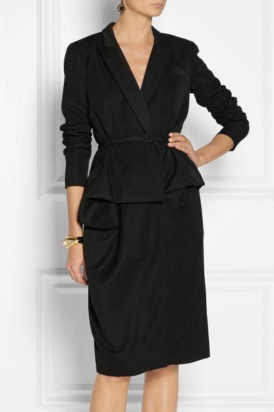 Oscar De La Renta Wool Wrap Suit Dress In Black Lyst