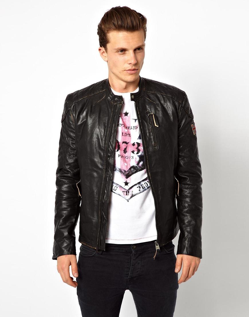 lyst pepe jeans leather biker jacket in black for men. Black Bedroom Furniture Sets. Home Design Ideas