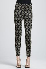 St. John Collection Jacquard Ankle Pants Caviargold - Lyst