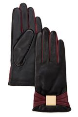 Ted Baker Bowe Bow Leather Gloves - Lyst