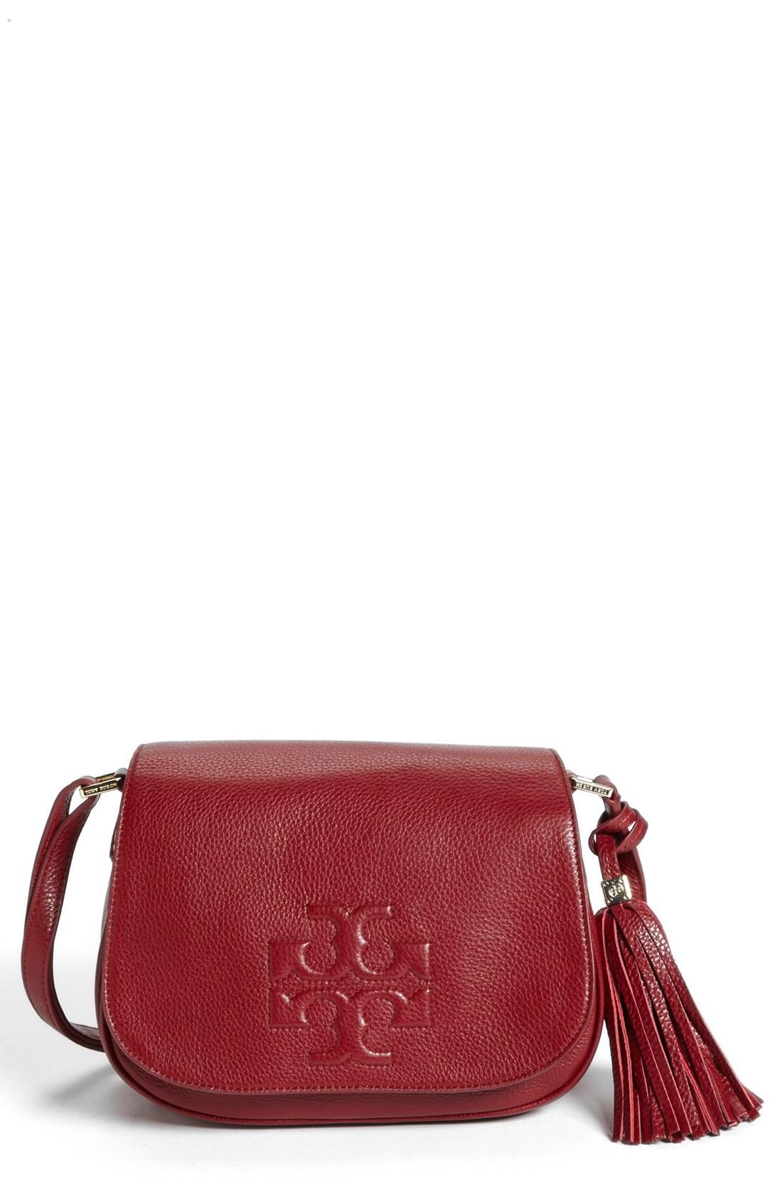 tory burch thea crossbody bag in red dark cherry lyst