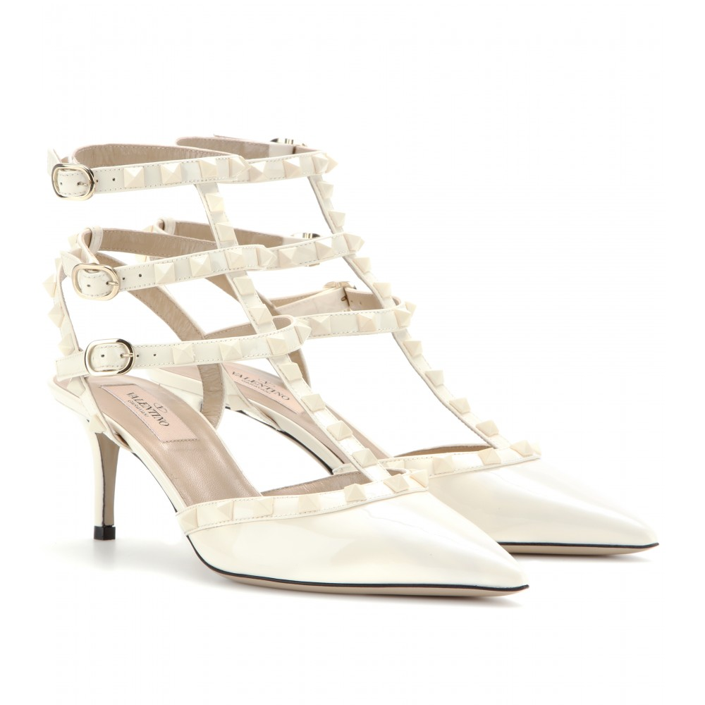 valentino rockstud patent leather kittenheel pumps in white ivory lyst. Black Bedroom Furniture Sets. Home Design Ideas