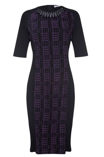 Almost Famous Tweed Panel Dress - Lyst