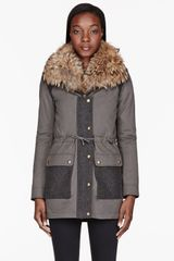 Army by Yves Salomon Olive Drab Fur_Lined Layered Slim Parka