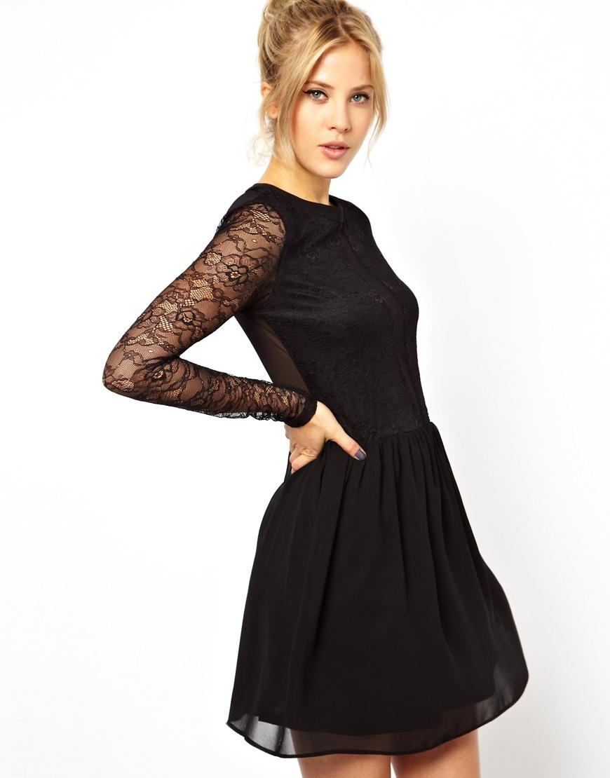 Designer Long Sleeve Skater Dress