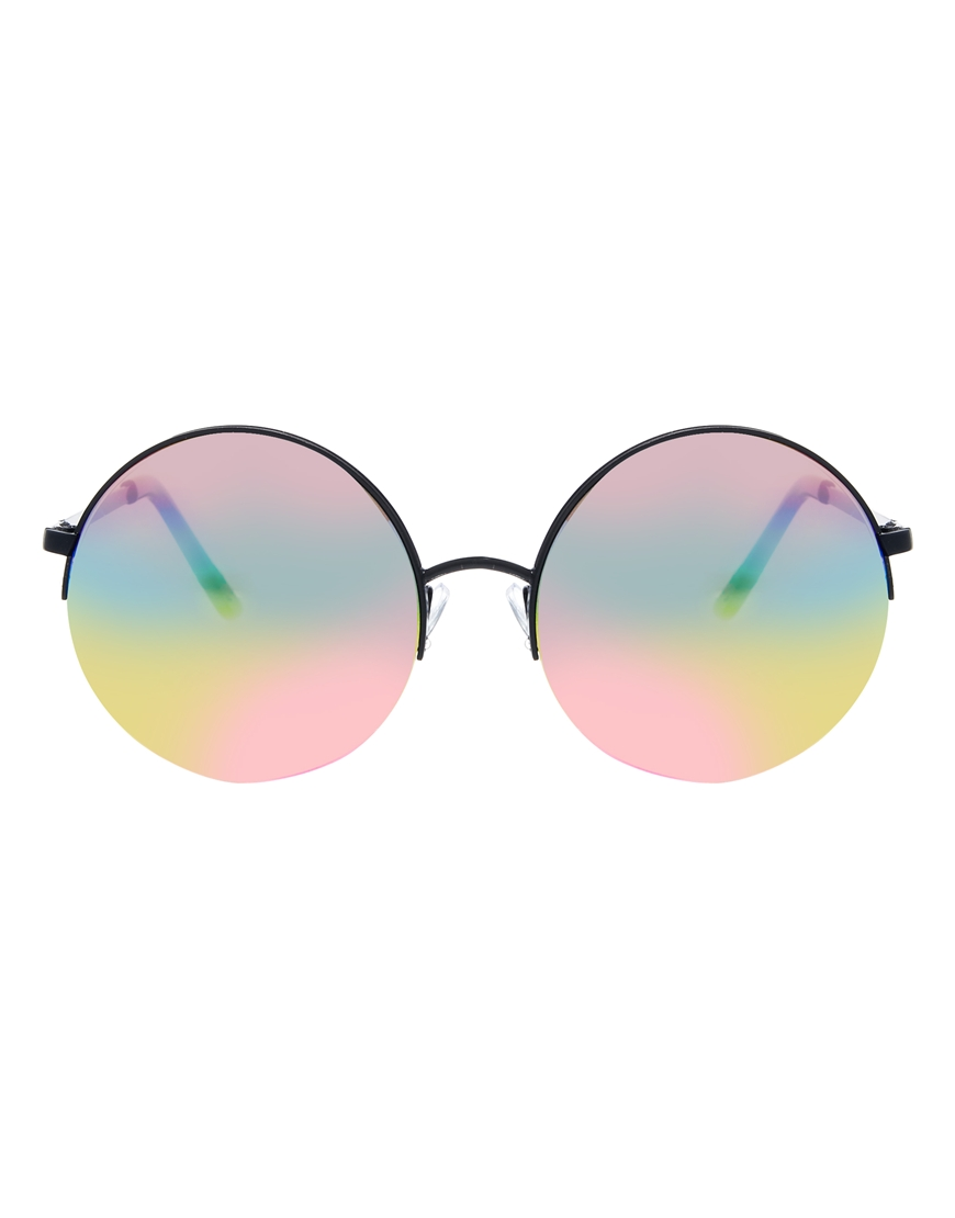 lyst asos round sunglasses with rainbow lens in black