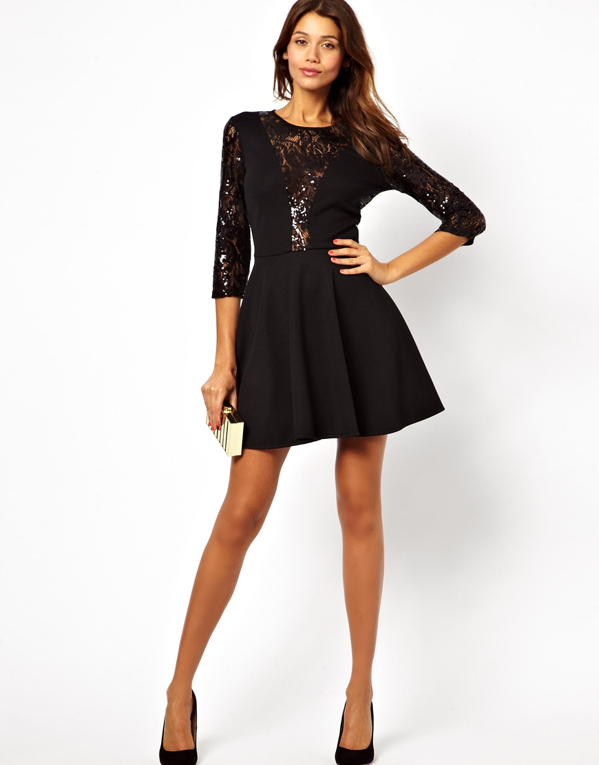 Lyst Fred Perry Asos Sequin And Lace Skater Dress In Black