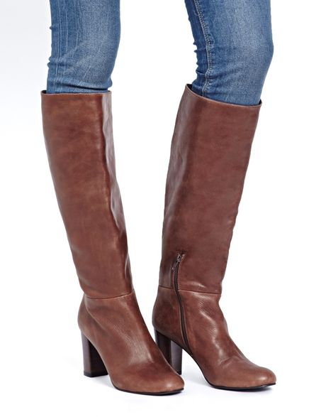 asos cooper leather knee high boots in brown lyst