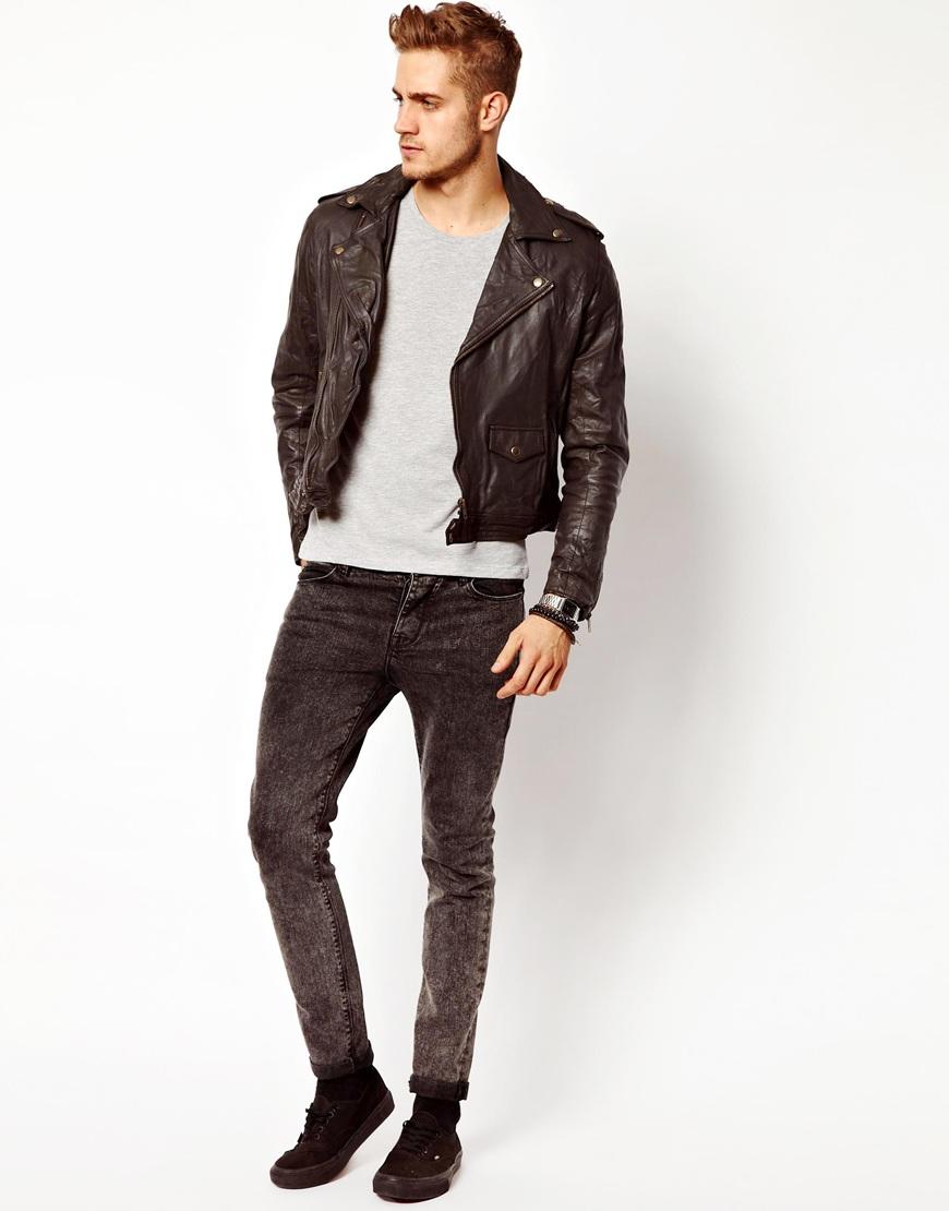 Leather jacket slim fit