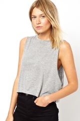 Asos Cropped Tank Top with High Neck - Lyst