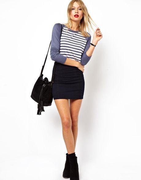 asos denim seamed micro skirt in black indigo lyst