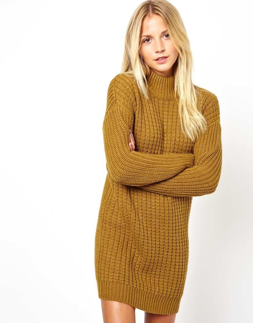 Asos Jumper Dress In Chunky Stitch With High Neck in Khaki ...