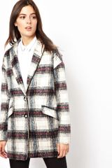 Asos Brushed Check Ovoid Coat - Lyst