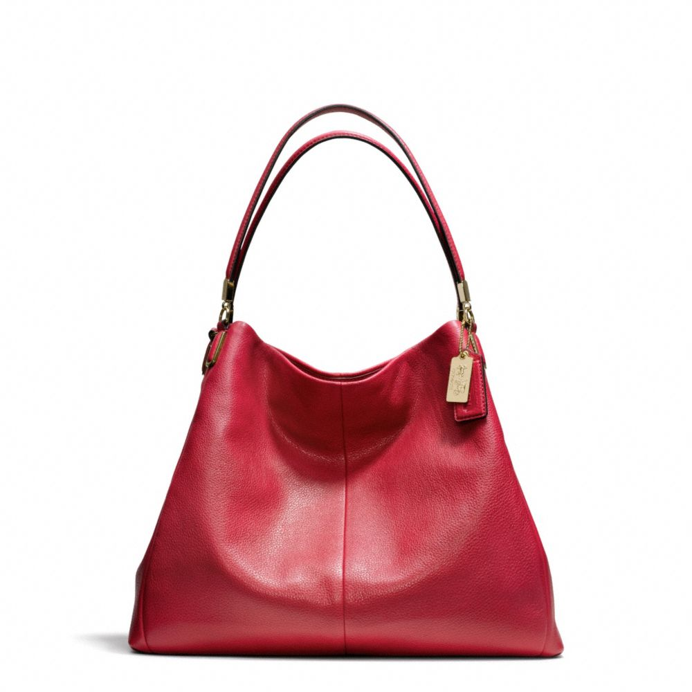 Lyst - Coach Madison Phoebe Shoulder Bag in Leather in Red