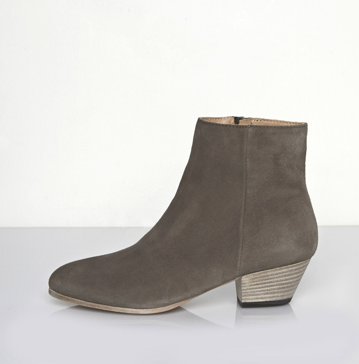 common projects suede zip ankle boot in gray warm grey