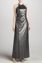 David Meister Metallic Halter Gown - Lyst