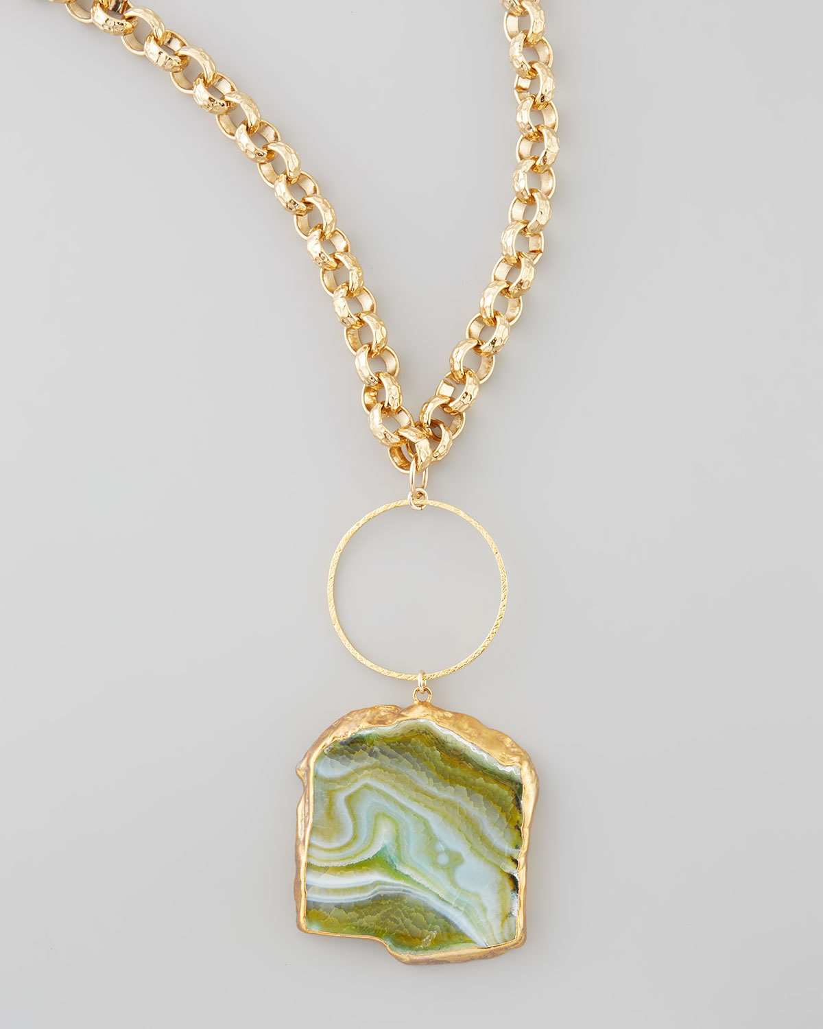 Lyst devon leigh hammered agate pendant necklace in green gallery aloadofball Choice Image