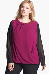 DKNY Embellished Faux Wrap Blouse - Lyst