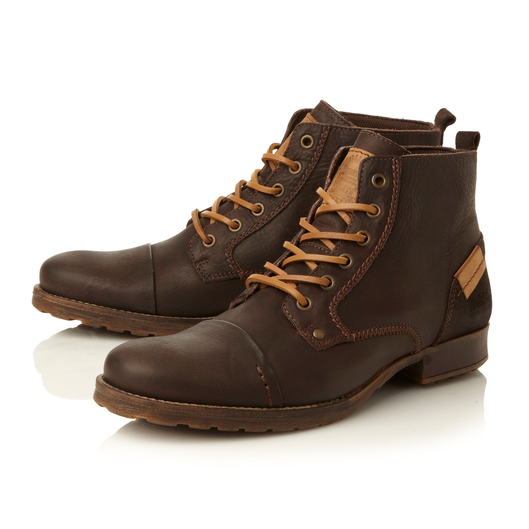 Dune Coach Folded Seam Toe Cap Boots In Brown For Men Lyst