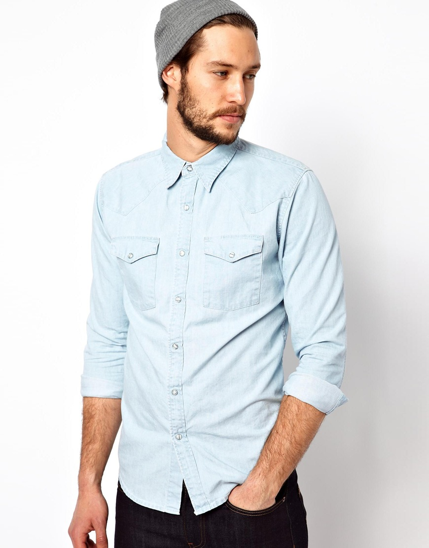 Edwin Denim Shirt Menphis Light Vintage Wash In Blue For