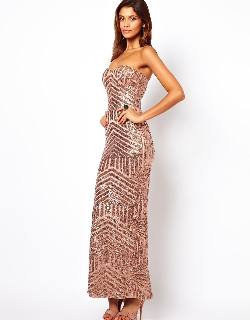 f4cf6f29193a Forever Unique Bandeau Maxi Dress in Sequin in Pink - Lyst