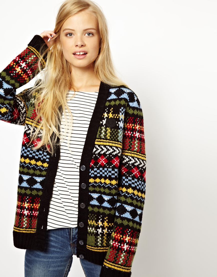 Fred perry British Knitting Fairisle Cardigan in Black | Lyst