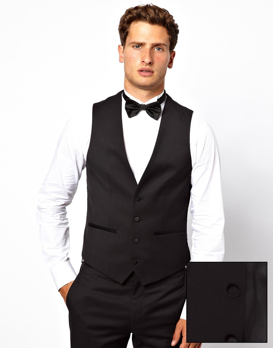 Lyst French Connection Slim Fit Tuxedo Waistcoat In