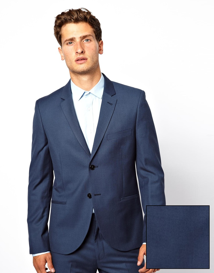 French connection Slim Fit Chambray Suit Jacket in Blue for Men | Lyst