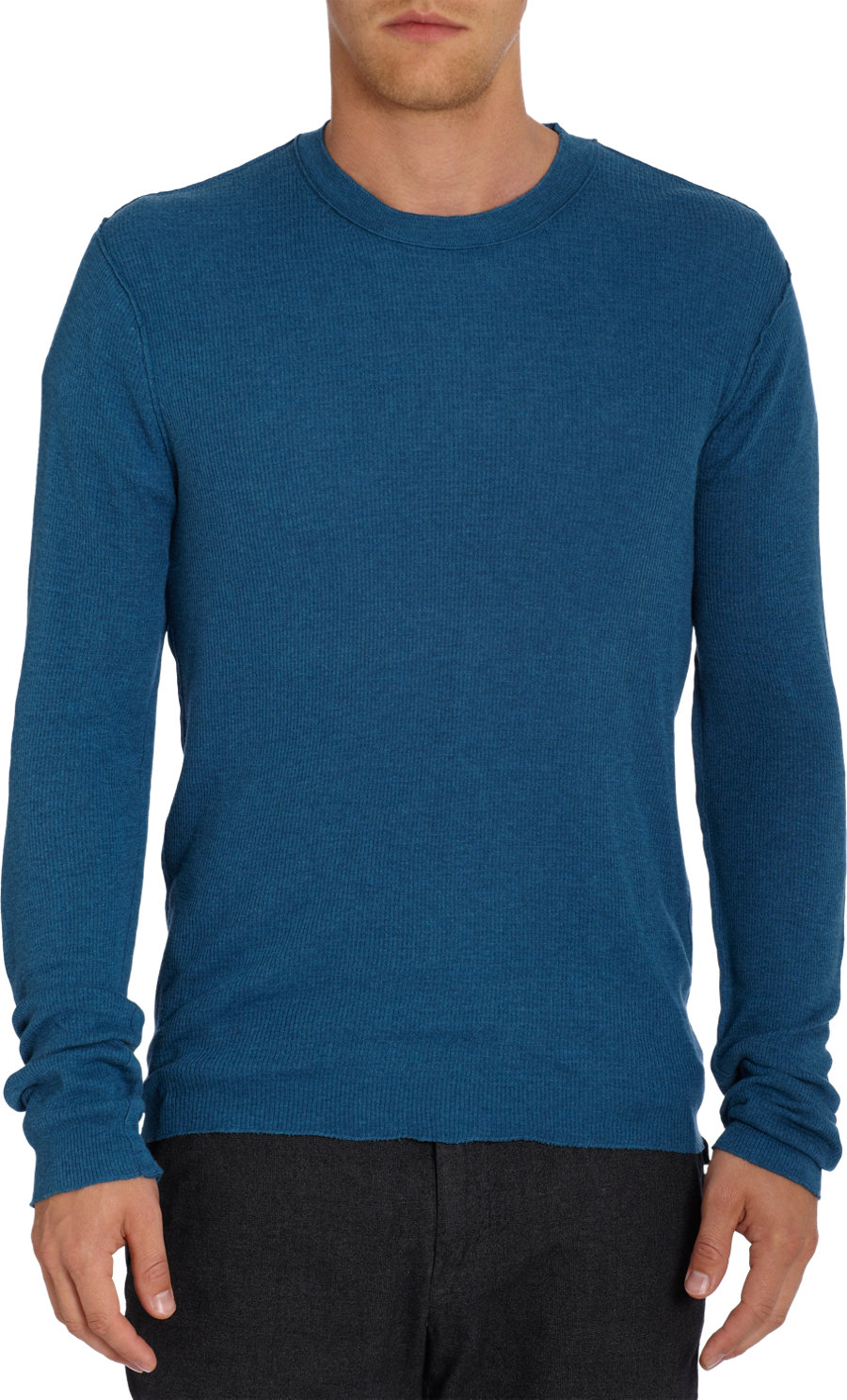 Inhabit waffle knit long sleeve thermal tee in blue for for Women s turquoise long sleeve shirt