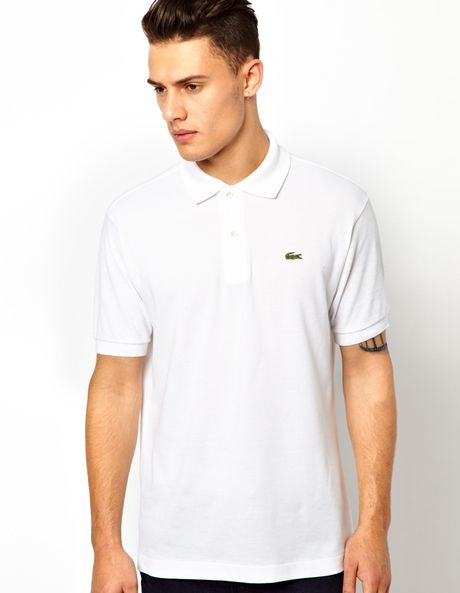 lacoste polo shirt with crocodile in white for men lyst. Black Bedroom Furniture Sets. Home Design Ideas