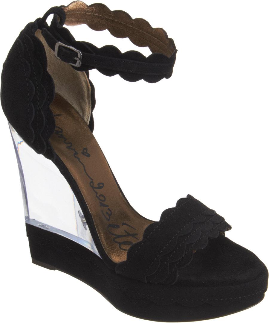 lanvin lucite wedge sandal in black lyst